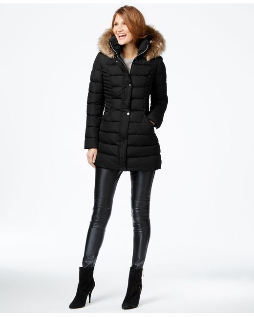 INC International Concepts | Black Faux-fur-trim Quilted Puffer Coat, Only At Macy's | Lyst