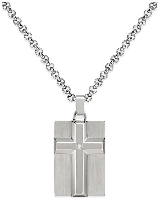 Macy's | Metallic Men's Diamond Accent Raised Cross Pendant Necklace In Stainless Steel for Men | Lyst