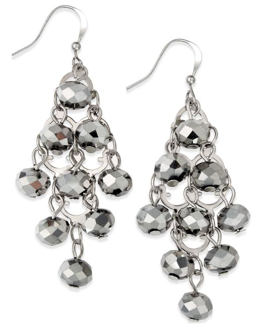 INC International Concepts | Metallic Silver-tone Rondelle Bead Drop Earrings | Lyst