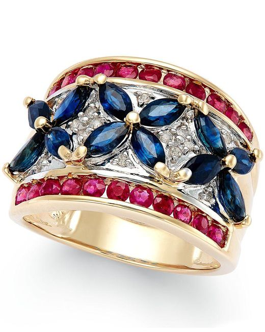 Macy's | Multicolor Sapphire (3 Ct. T.w.), Ruby (1-1/10 Ct. T.w.) And Diamond Accent Ring In 14k Gold | Lyst