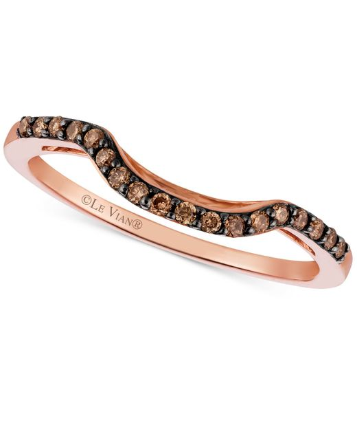Le Vian | Brown Chocolate Diamond (1/6 Ct. T.w.) curved Ring In 14k Rose Gold | Lyst