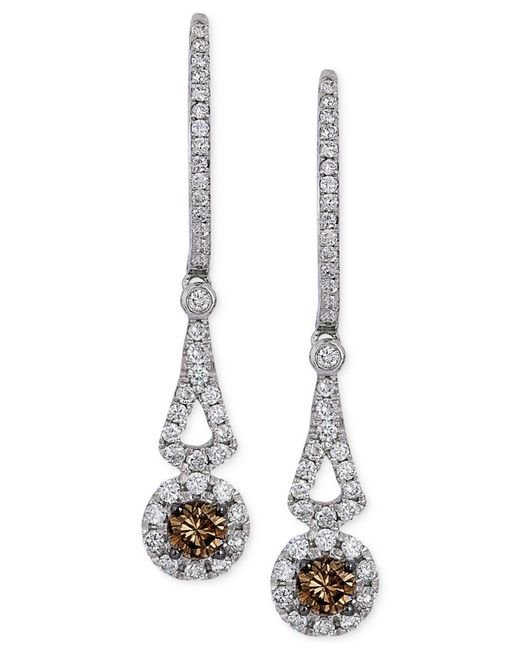 Le Vian | Brown Chocolate Diamond And White Diamond Drop Earrings In 14k White Gold (1/2 Ct. T.w.) | Lyst