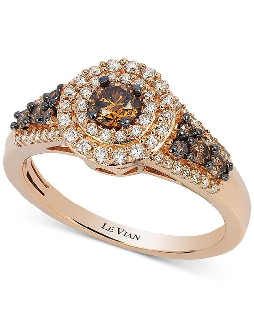 Le Vian | Metallic Chocolatier Chocolate Diamond And White Diamond Halo Ring (3/4 Ct. T.w.) In 14k Rose Gold | Lyst