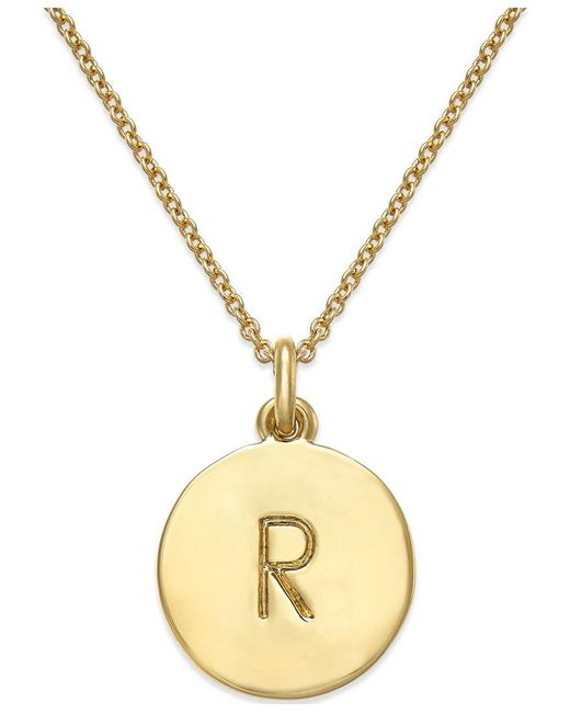 kate spade new york   Metallic 12k Gold-plated Initials Pendant Necklace   Lyst