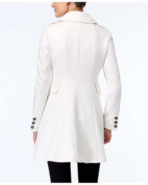 Via Spiga | White Double-breasted Flared Peacoat | Lyst