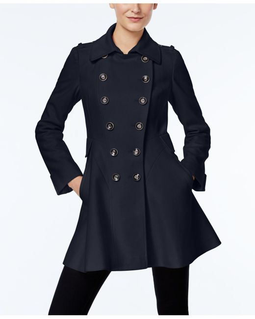 Via Spiga | Blue Double-breasted Flared Peacoat | Lyst
