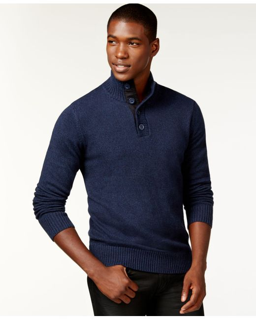 Sean John   Blue Twist-yarn Button-neck Sweater, Only At Macy's for Men   Lyst