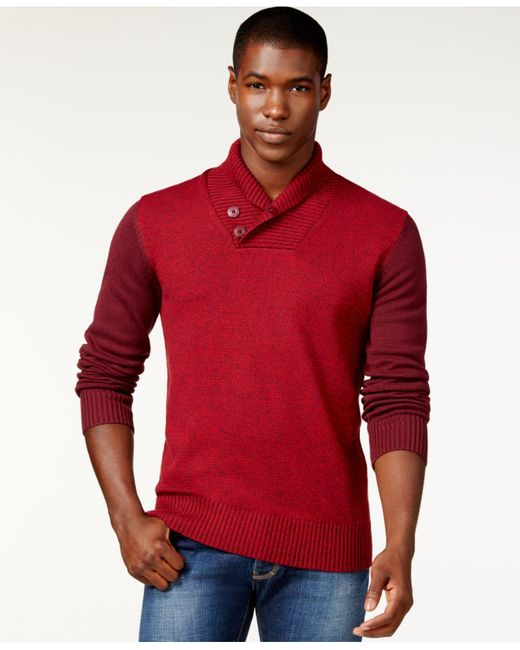 Sean John | Red Colorblocked Twist Shawl-collar Sweater, Only At Macy's for Men | Lyst