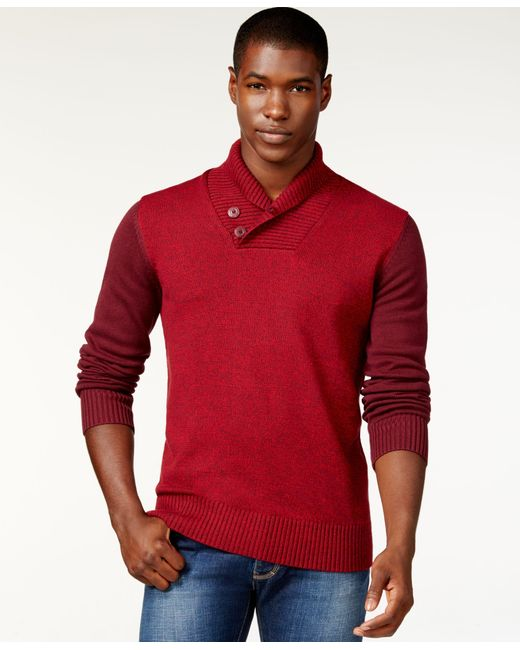 Sean John   Red Colorblocked Twist Shawl-collar Sweater, Only At Macy's for Men   Lyst
