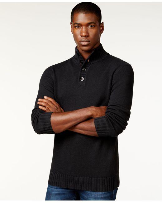 Sean John | Black Men's Button-neck Sweater for Men | Lyst