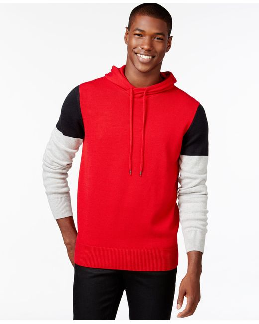 Sean John | Red Men's Colorblocked Hoodie Sweater for Men | Lyst
