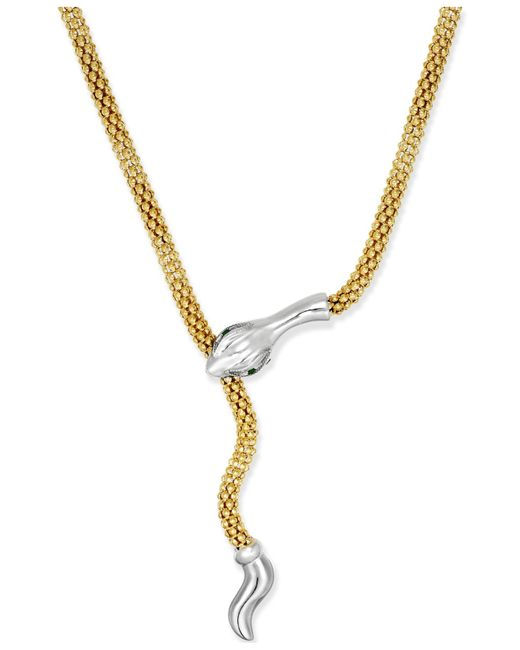 Macy's | Metallic Emerald-accent Snake Lariat Necklace In 14k Vermeil And Sterling Silver | Lyst