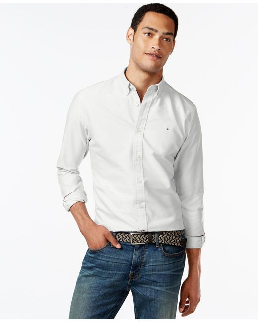 Tommy Hilfiger   White New England Solid Long-sleeve Custom-fit Oxford Shirt for Men   Lyst