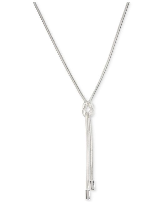 Kenneth Cole | Metallic Silver-tone Knot Y Necklace | Lyst