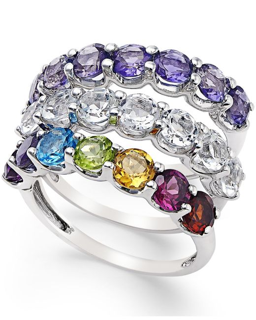 Macy's | Multicolor Multi-stone Stackable 3-pc.ring Set (4-3/4 Ct. T.w.) In Sterling Silver | Lyst