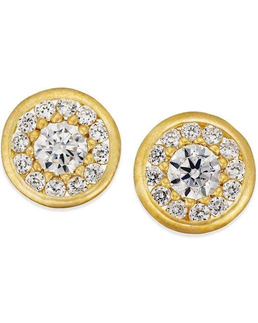 Macy's   Metallic Cubic Zirconia Circle Stud Earrings In 10k Gold   Lyst