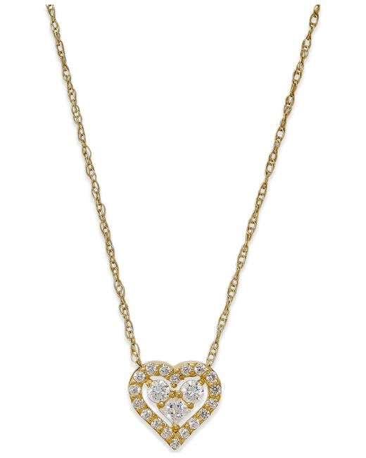 Macy's | Metallic Cubic Zirconia Heart Pendant Necklace In 10k Gold | Lyst