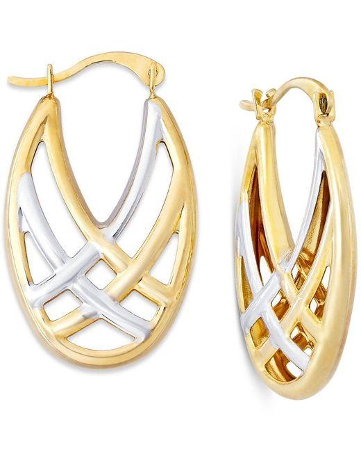 Macy's | Metallic Woven Hoop Earrings In 10k Gold And Rhodium | Lyst