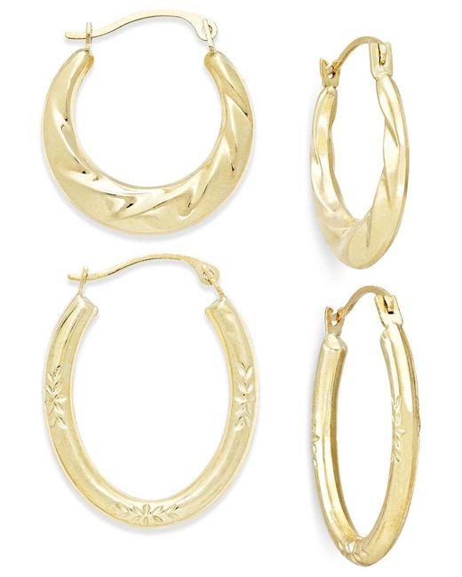 Macy's | Metallic Ribbed And Diamond-cut Hoop Earring Set In 10k Gold | Lyst