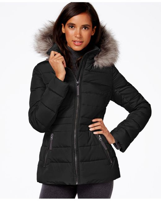 Calvin Klein | Black Hooded Faux-fur-trim Quilted Puffer Coat | Lyst