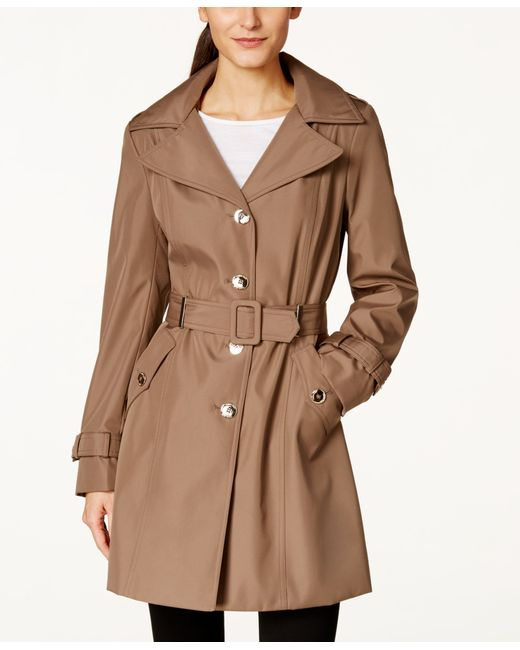 Calvin Klein | Brown Petite Hooded Single-breasted Trench Coat, Only At Macy's | Lyst