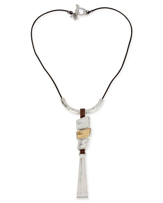 Robert Lee Morris | Metallic Two-tone Geometric Long Pendant Necklace | Lyst