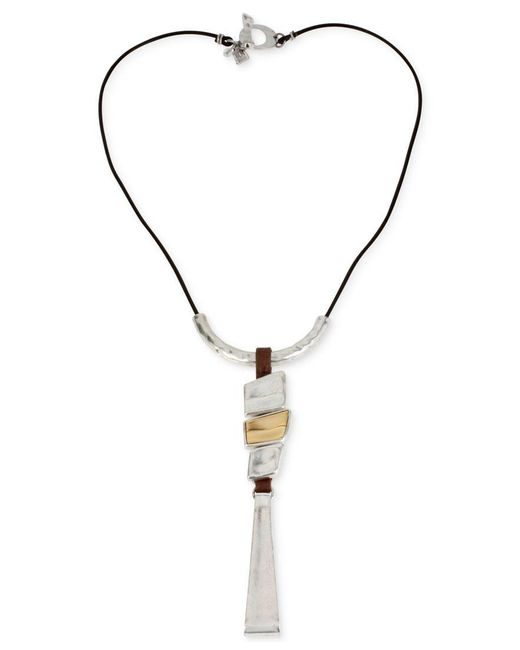 Robert Lee Morris | Metallic Two-tone Geometric Long Pendant Necklace | Lyst