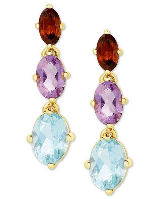 Macy's - Metallic Multi-gemstone Drop Earrings (3-3/8 Ct. T.w.) In 18k Gold-plated Sterling Silver - Lyst