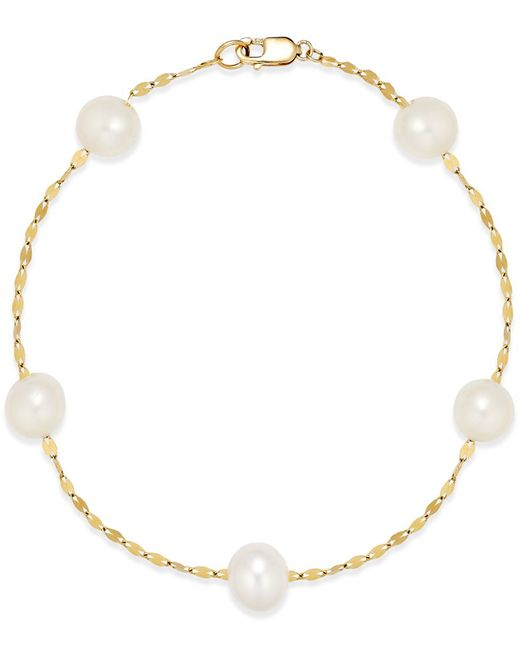 Macy's | Metallic Cultured Freshwater Pearl (7mm) Station Bracelet In 14k Gold | Lyst