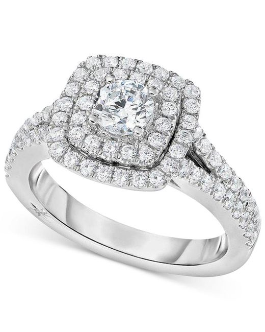 Marchesa   Metallic Certified Diamond Square Halo Engagement Ring (1-1/4 Ct. T.w.) In 18k White Gold   Lyst