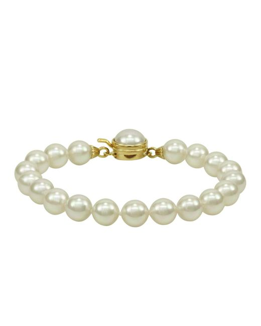 Majorica | White Pearl Bracelet, 18k Gold Over Sterling Silver Organic Man Made Pearl | Lyst