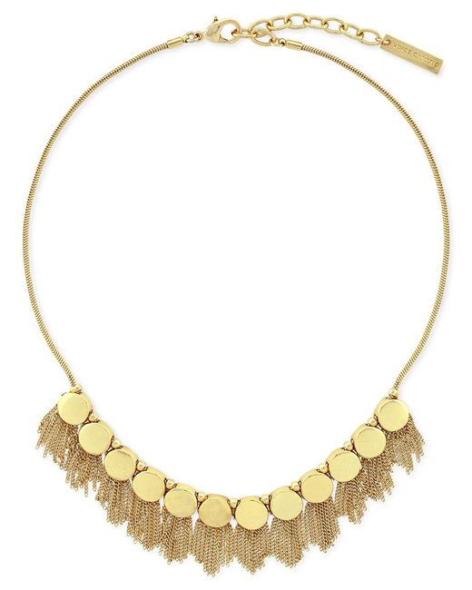 Vince Camuto | Metallic Gold-tone Fringe Disc Necklace | Lyst
