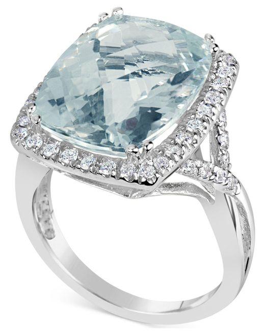 Macy's - Multicolor Aquamarine (9-1/2 Ct. T.w.) & Diamond (3/8 Ct. T.w.) Ring In 14k White Gold - Lyst