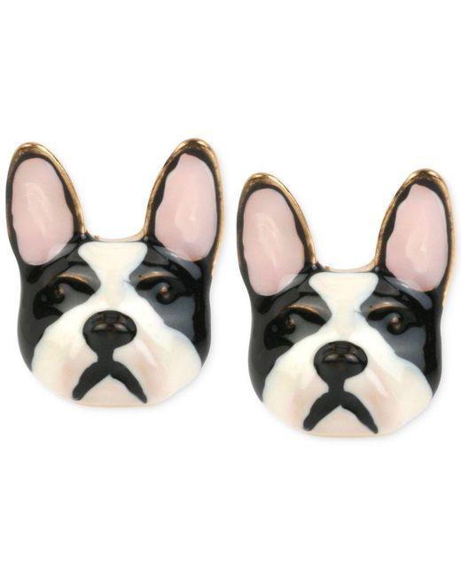 Betsey Johnson   Metallic Gold-tone Bulldog Earrings   Lyst