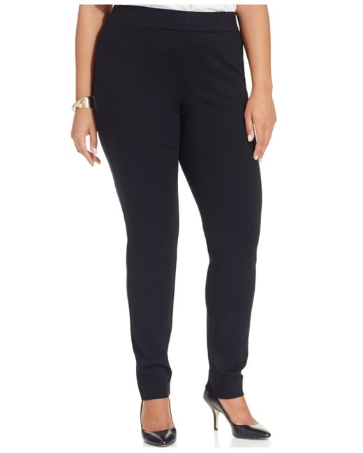 INC International Concepts | Black Plus Size Ponte Pull-on Straight-leg Pants | Lyst