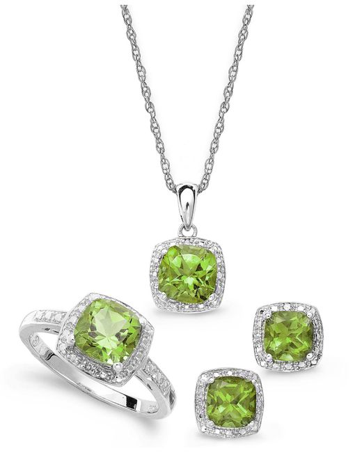 Macy's - Metallic Sterling Silver Jewelry Set, Peridot (4-3/4 Ct. T.w.) And Diamond Accent Necklace, Earrings And Ring Set - Lyst