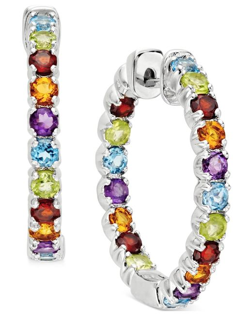 Macy's | Metallic Multi-stone Inside-outside Hoop Earrings (4 Ct. T.w.) In Sterling Silver | Lyst