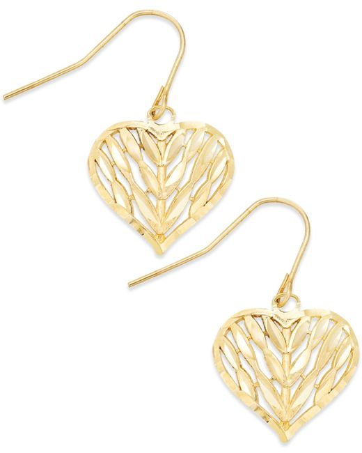 Macy's | Metallic Openwork Heart Drop Earrings In 10k Gold | Lyst