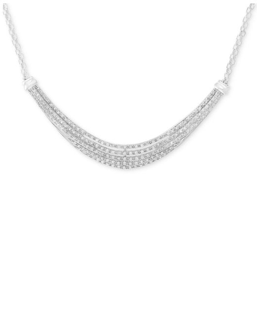 Macy's - Metallic Diamond Five-row Collar Necklace (1/2 Ct. T.w.) In Sterling Silver - Lyst