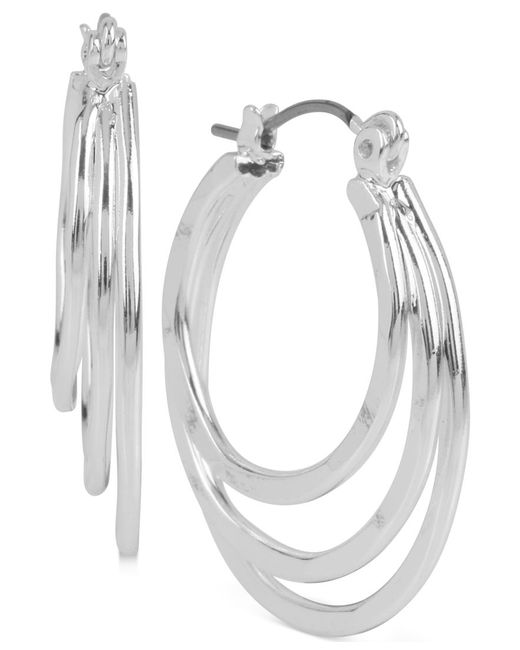 Robert Lee Morris | Metallic Silver-tone Triple Layer Hoop Earrings | Lyst