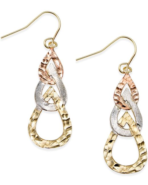 Macy's | Metallic Tri-tone Hammered Teardrop Earrings In 10k Gold | Lyst