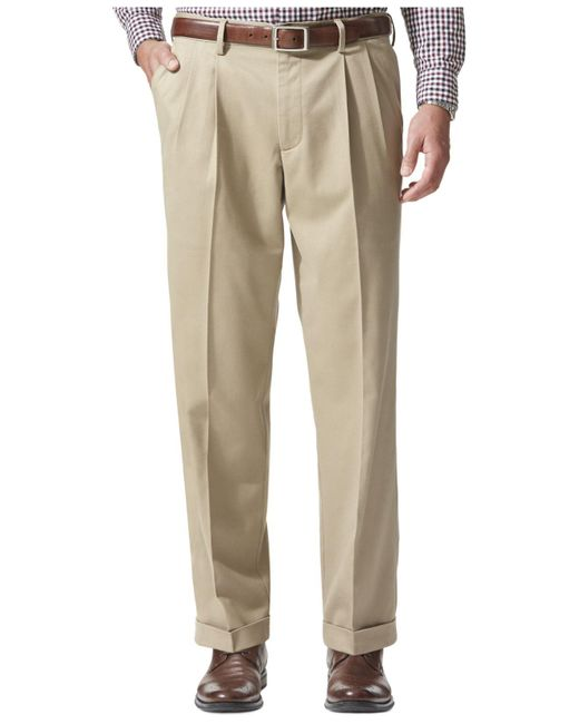 Dockers | Natural Relaxed Fit Comfort Khaki Pleated Pants for Men | Lyst