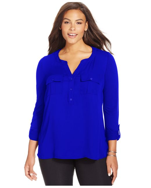 INC International Concepts | Blue Plus Size Mixed-media Blouse | Lyst