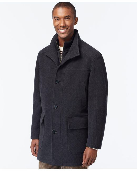 Cole Haan | Gray Wool-blend Knit-collar Overcoat for Men | Lyst