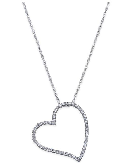 Macy's - Metallic Diamond Floating Heart Pendant Necklace (1/4 Ct. T.w.) In Sterling Silver - Lyst
