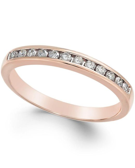 Macy's | Pink Diamond Band (1/5 Ct. T.w.) In 10k Rose, White, Or Yellow Gold | Lyst