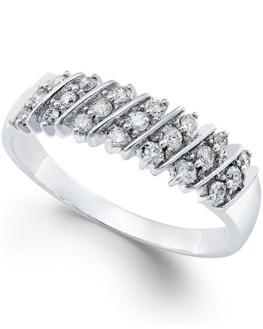Macy's | Metallic Diamond Multi-row Band (1/5 Ct. T.w.) In 14k White Gold | Lyst