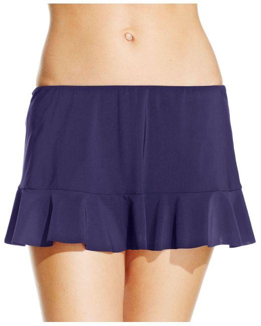 gottex ruffled swim skirt bottom in blue lyst