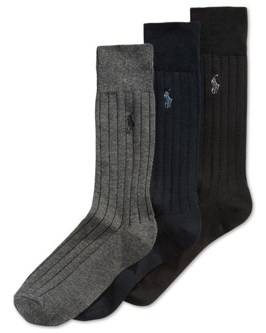 Polo Ralph Lauren   Black Three-pack Crew Socks for Men   Lyst