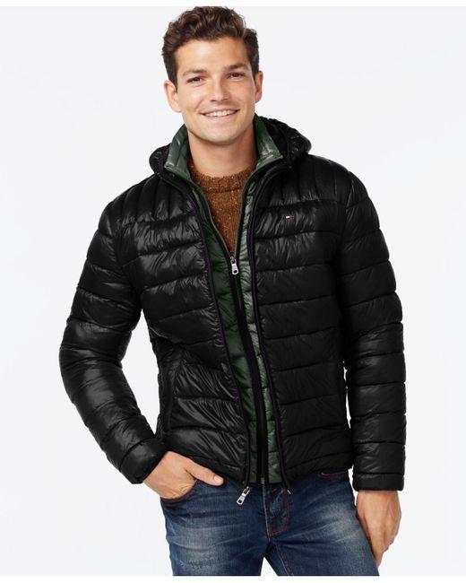 Tommy Hilfiger | Black Hooded Packable Jacket for Men | Lyst